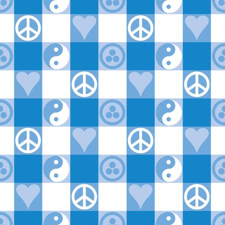 pacto: Modelo incons�til de la tela escocesa de la paz en azul con Yin Yang, el coraz�n y la paz y s�mbolos Bandera de la Paz Vectores