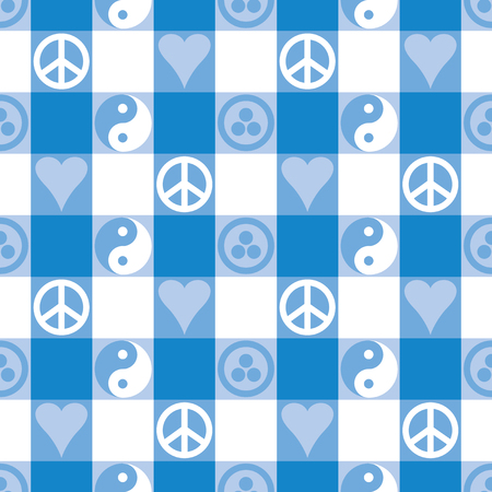 Peace Plaid seamless pattern in blue with Yin Yang, heart and peace symbols and Banner of Peace