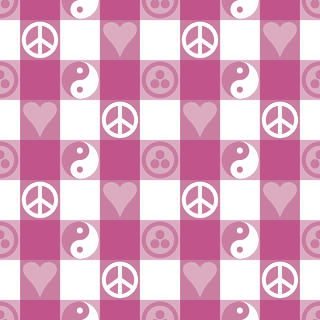 Peace Plaid seamless pattern in pink with Yin Yang, heart and peace symbols and Banner of Peace
