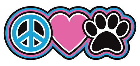 Retro-styled icon design of a peace symbol, heart and pet paw print in pink, blue, black and white.