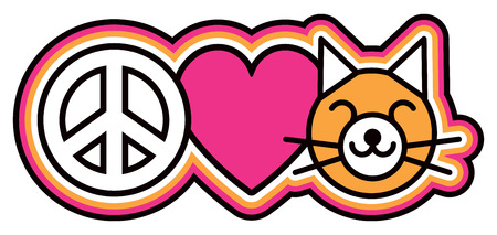 Icon design of a peace symbol, heart and cat in a retro outlined style in pink, orange, black and white.