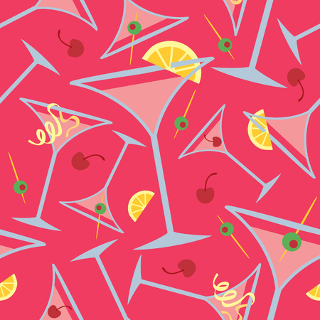 Vector pattern of pink martinis with popular garnishes repeats seamlessly.