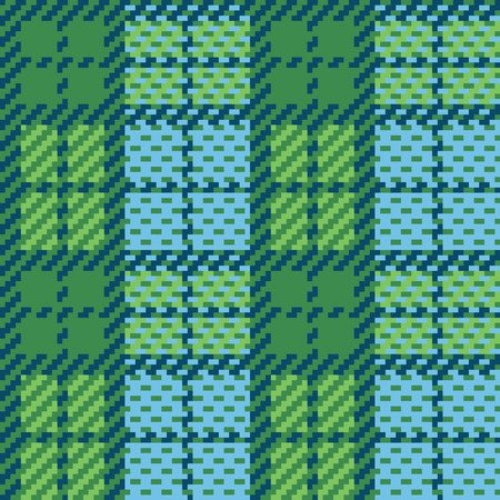 twill: Seamless vector plaid pattern made of squares, in blue and green.