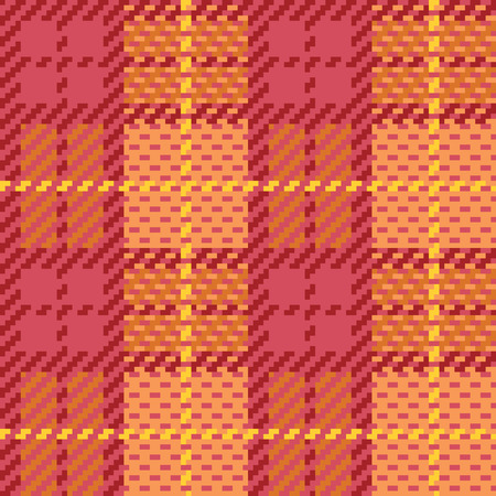 Seamless plaid pattern made of squares, in pink and orange.