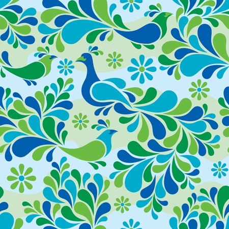 Birds and flower colorful abstract pattern