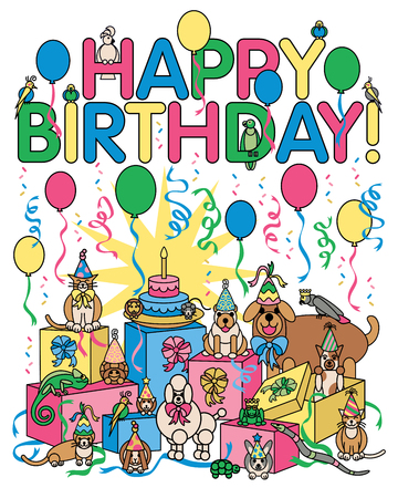 Vector illustration of various pets celebrating at a birthday party. Ilustrace