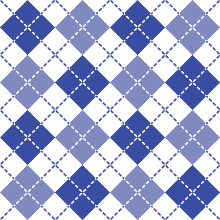 Seamless argyle pattern with dashed lines in blue and white. Illustration