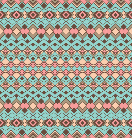 Art Deco border pattern in turquoise and coral repeats seamlessly. Illustration