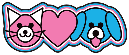 Outline design of a cat, dog and heart icons in pink, blue, black and white. Ilustrace
