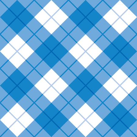 Bias plaid pattern in blue and white repeats seamlessly. Illustration