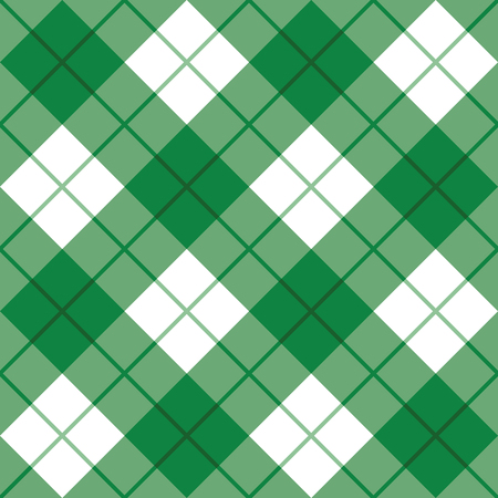 Bias plaid pattern in green and white repeats seamlessly. Ilustrace