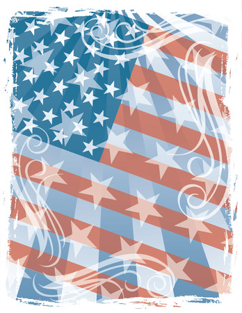 Vector American flag background has transparency. Ilustrace