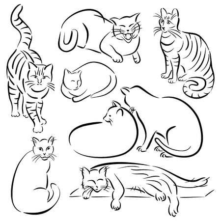 Collection #1 of cats in various poses in brushstroke style.