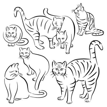 Collection #2 of cats in various poses in brushstroke style. Reklamní fotografie - 89710730