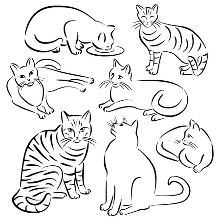 Collection #3 of cats in various poses in brushstroke style. Ilustrace