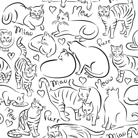 Brush stroke cat pattern repeats seamlessly.