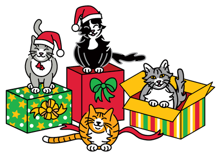 Vector illustration of Christmas Cats with gifts.