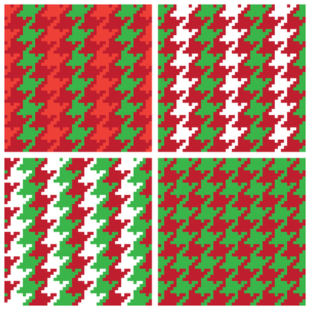 Christmas Pixel Houndstooth Patterns collection