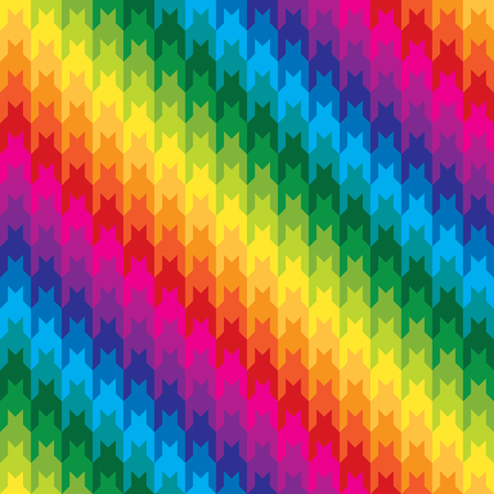 Diagonal hounds tooth pattern in rainbow colors repeats seamlessly. Illustration