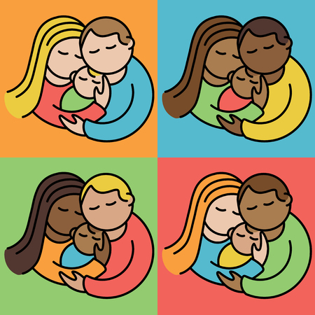 Illustration of couples holding their babies