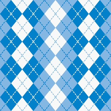 Argyle design with dashed lines in blue and white pattern Illustration