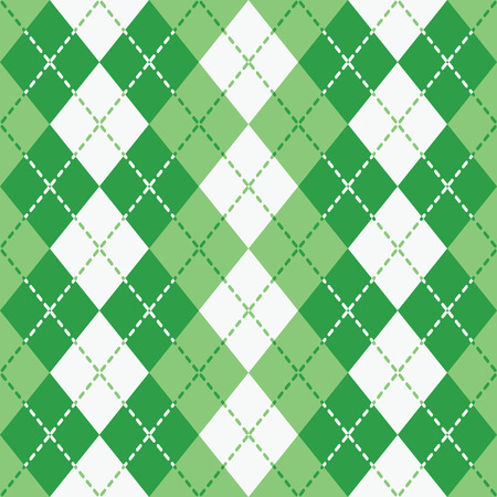 Argyle design with dashed lines in green and white pattern