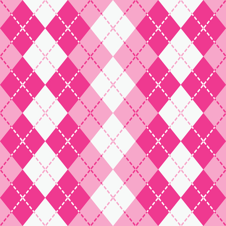 Argyle design with dashed lines in pink and white pattern