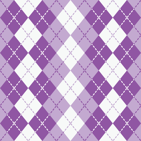 Argyle design with dashed lines in purple and white pattern Illustration