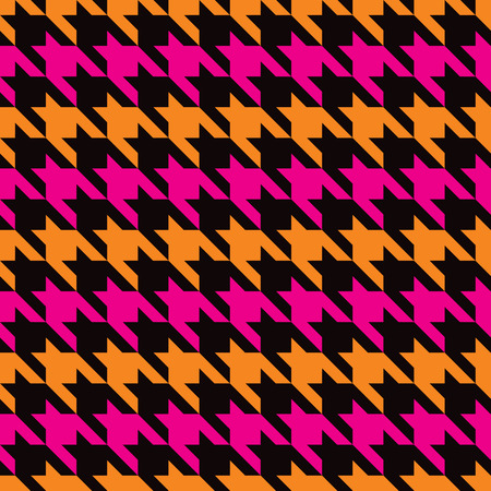 Classic houndstooth pattern with horizontal stripes of magenta, orange and black repeats seamlessly.