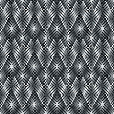 Seamless pattern of lined diamond shapes in black, white and grey. Illustration