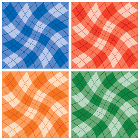 Seamless wavy plaid pattern of in four monochromatic color combinations.