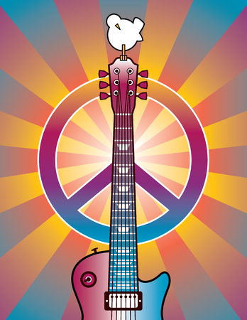 Retro-styled illustration of a guitar, peace symbol and dove. Illustration