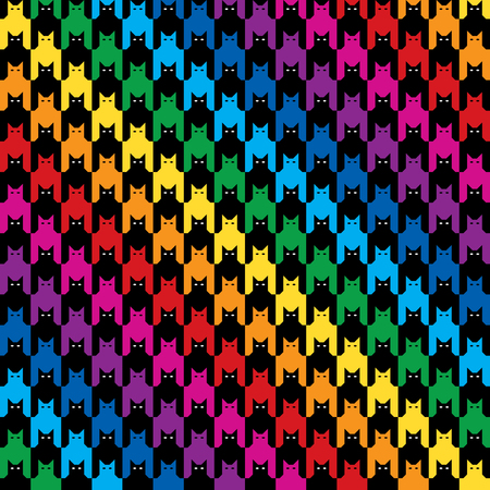 Diagonal cats hounds tooth pattern in rainbow colors. Ilustrace