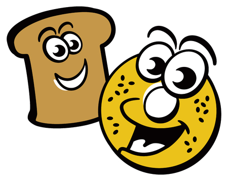 Cartoon of a happy bagel and piece of toast.