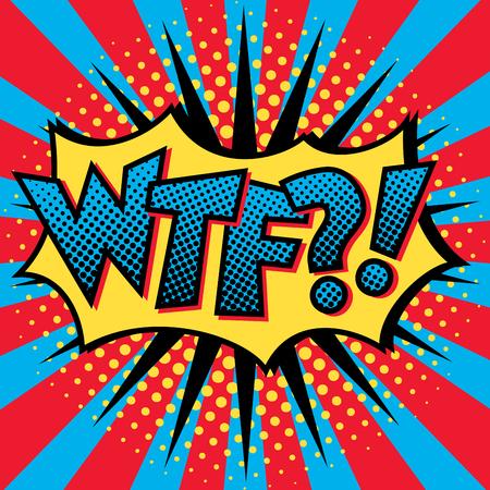 Pop Art cartoon WTF?! text design with halftone effects on a burst background. Banco de Imagens - 90650981
