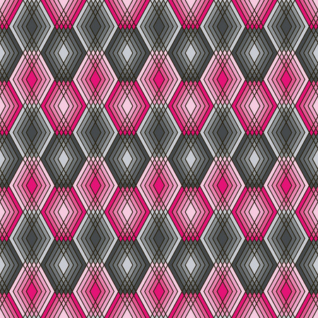 Seamless pattern of lined diamond shapes in black, pink and grey.