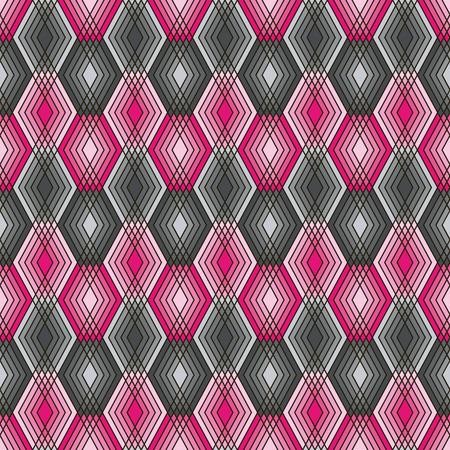 Seamless pattern of lined diamond shapes in black, pink and grey. Reklamní fotografie - 90773885