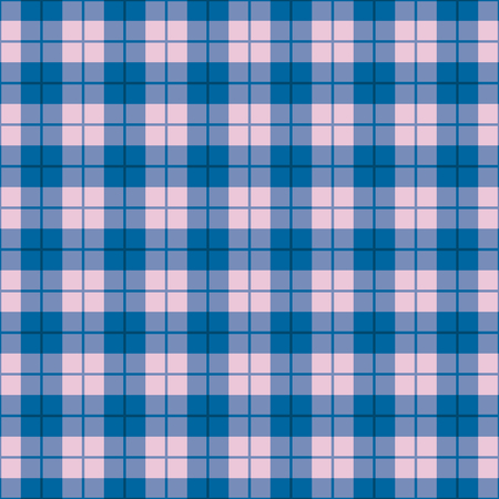 Seamless straight plaid pattern in blue and pink.