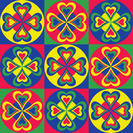 Abstract pattern of hearts and squares and circles.