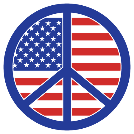 Graphic design of the American flag within a peace symbol. Ilustrace