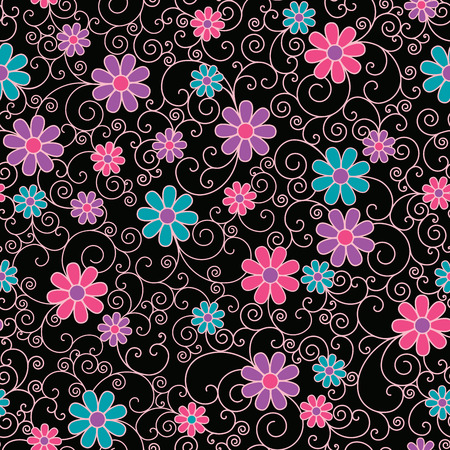 Seamless pattern of stylized flowers and filigree on a black background.