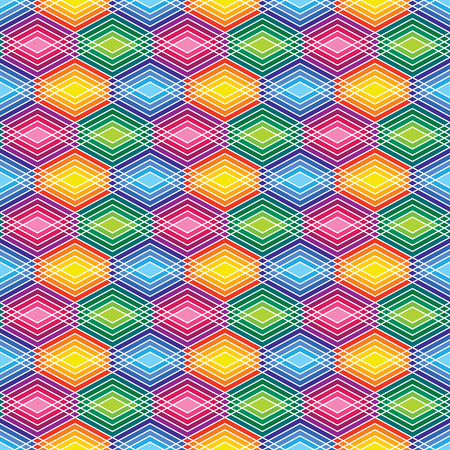 Seamless pattern of lined diamond shapes in bright colors.