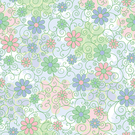 Seamless pattern of stylized flowers and filigree in pastel colors. Ilustrace