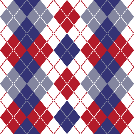 Argyle design in red, white and blue repeats seamlessly.