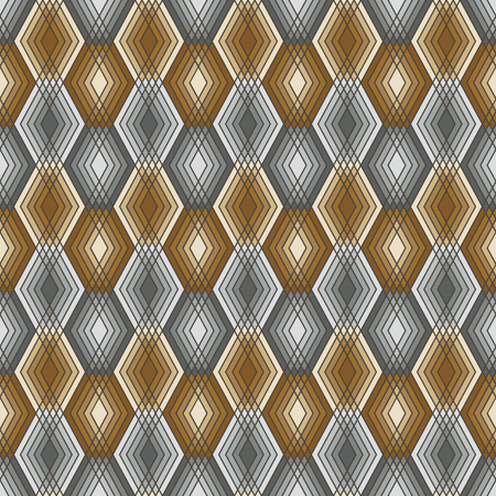 Seamless pattern of outlined diamond shapes in gold and silver.
