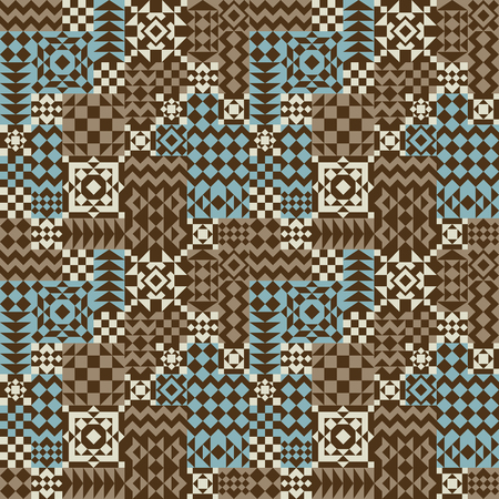 Four-tile repeat pattern of assorted geometric shapes in blue, brown and beige. Ilustrace