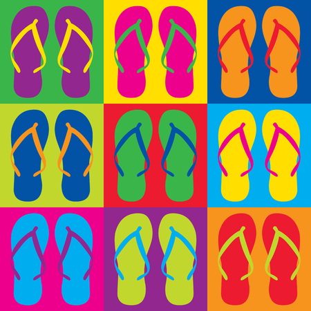 Colorful flip flops in a Pop Art-style checkerboard design. Reklamní fotografie - 90773889