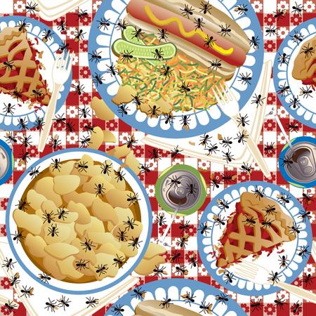 Naadloos patroon van mieren die over een picknickmaaltijd kruipen.