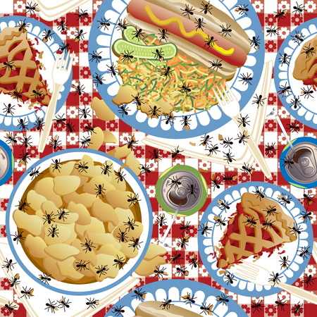 Seamless pattern of ants crawling over a picnic meal. Иллюстрация