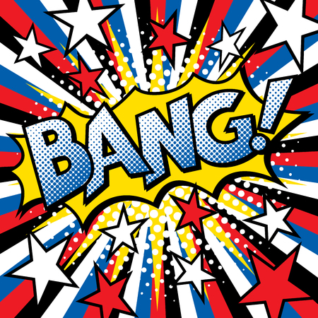 Pop Art BANG! word text design with halftone effects on a burst background.